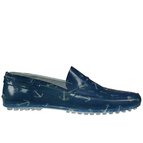 footwear loafers lyst ishu printed giglio rubber loafer shoes in blue