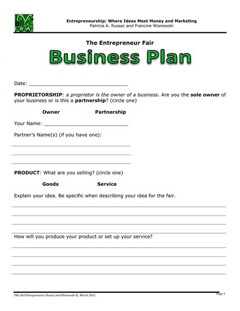 Easy Business Plan Template Beepmunk Sole Proprietorship Business Plan Template