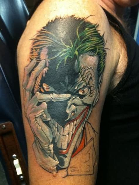 right half sleeve crazy joker tattoo