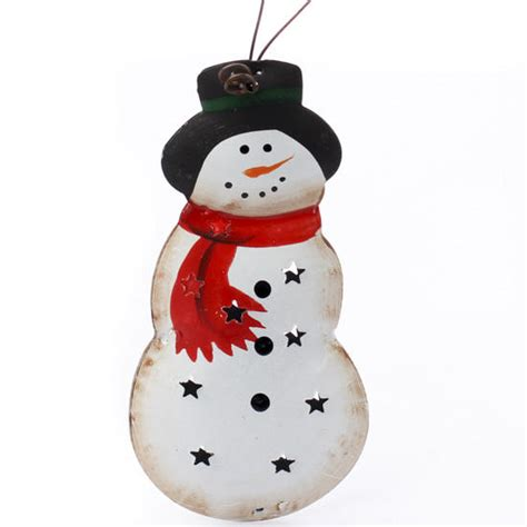 snowman home decor small primitive metal snowman ornament signs ornaments