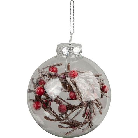 asda christmas baubles clear glass bauble with berries inside single decorations asda direct woodland