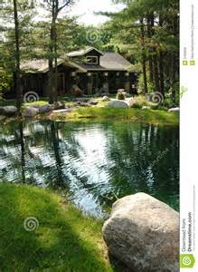 Small Rustic House Plans rustic house by pond royalty free stock images image