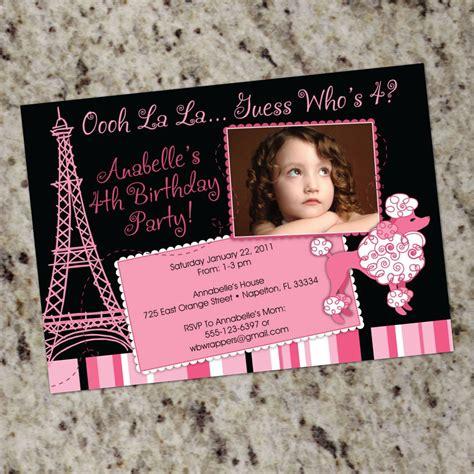 paris themed birthday invitations pink poodle paris birthday party invitations french poodle