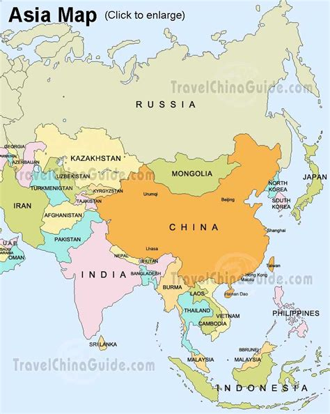 map of asian countries asia map map pictures