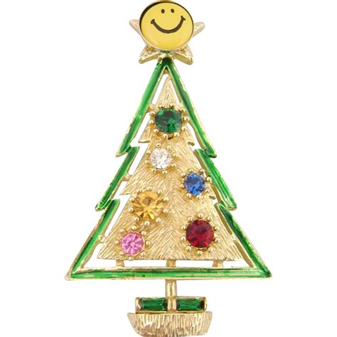 vintage whimsical smiley face christmas tree pin from