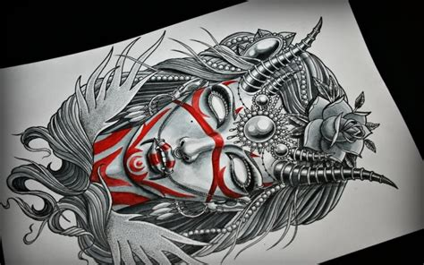 demon girl tattoo designs beautiful with prints and rich