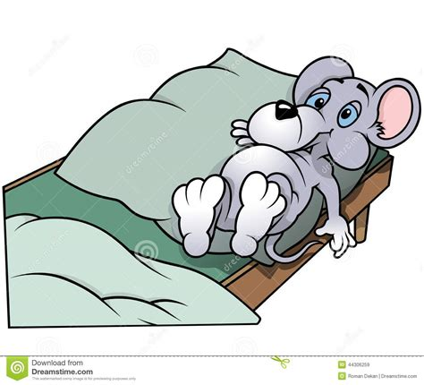 mouse laying in bed stock vector image 44306259