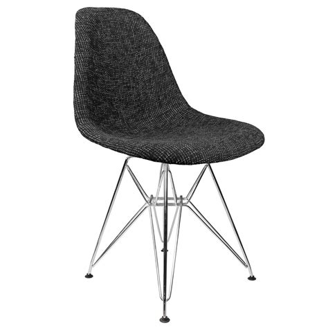 Side Dining Chairs Upholstered Black Fabric Upholstered Mid Century Eames Style Accent Side Dining Chair