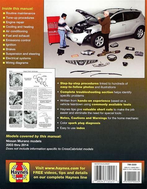 auto repair manual online 2003 nissan murano on board diagnostic system nissan murano crossover repair manual 2003 2014 haynes 72025