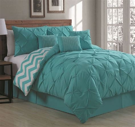Aqua Bedding Sets Luxurious Reversible 7 Comforter Set Size Bedding Pinch Pleat Aqua Ebay