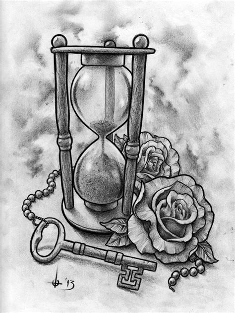 sandtimer and key tattoo design by t o n e on deviantart