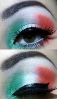 italian flag makeup green white eye makeup with eyelashes different eye makeup