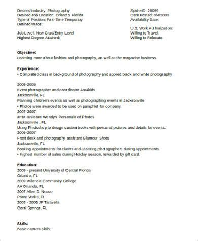 Best Resume Format For Photographer by 8 Sle Photography Resumes Sle Templates