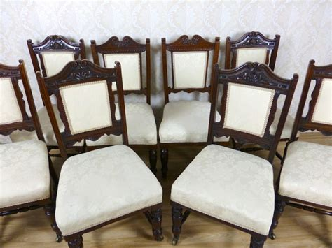 8 antique mahogany upholstered dining chairs