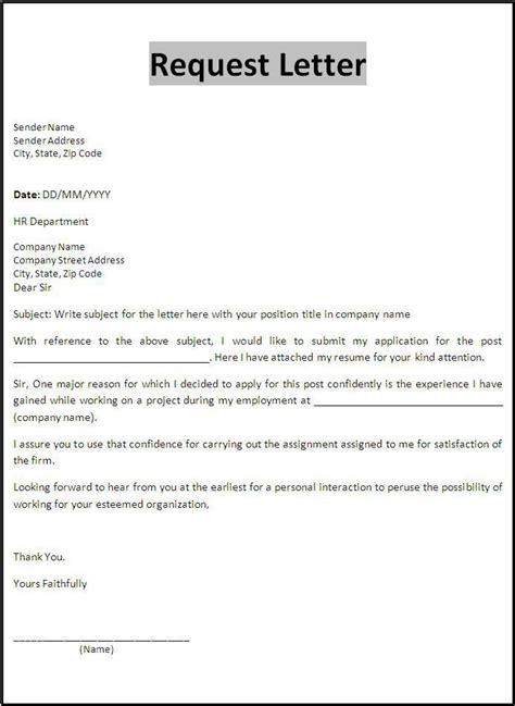 request letter template business letter template