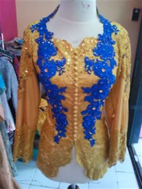 Kebaya Payet Combi Songket kebaya muslim kuning kombinasi biru elektrik
