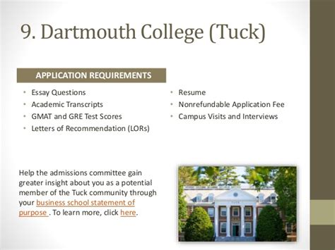 Dartmouth College Mba Admission Requirements by 20 Top Mba Schools