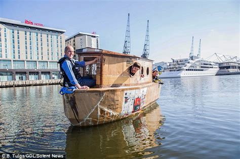 houseboat with icecream stick houseboat made from recycled material takes to the thames