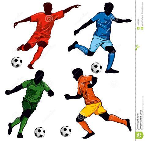 la calciatore un insieme di quattro calciatori fotografie stock