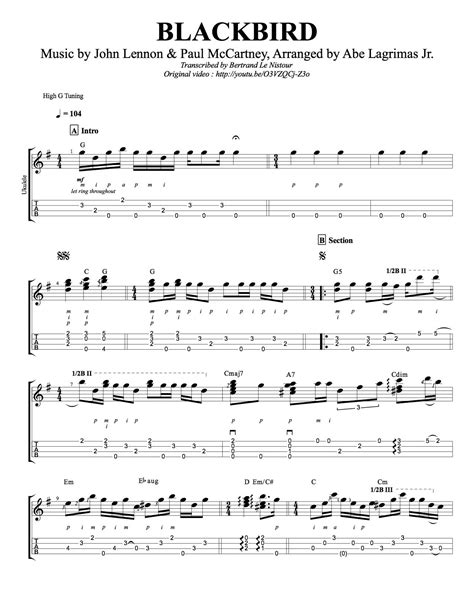 Dorable Blackbird Beatles Chords Photos - Beginner Guitar Piano ...
