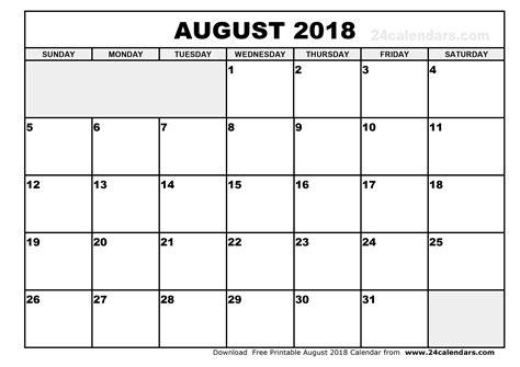 printable calendar 2018 august august 2018 printable calendar blank calendar templates