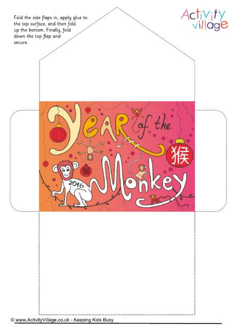 new year lucky envelope printable year of the monkey lucky money envelope