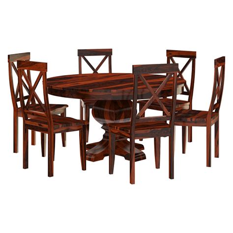 missouri solid wood pedestal dining table and chairs
