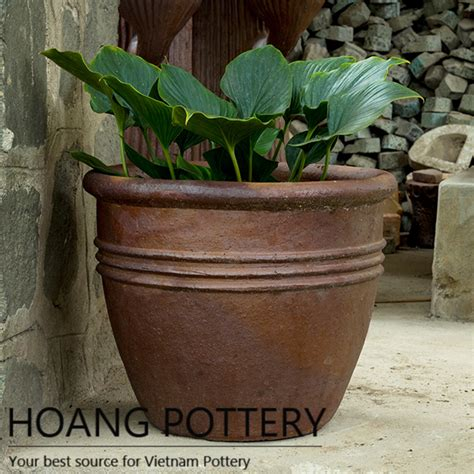 Planters Net by Black Clay Flower Planter Outdoor Hphp027 Hoang Pottery Your Best Source For