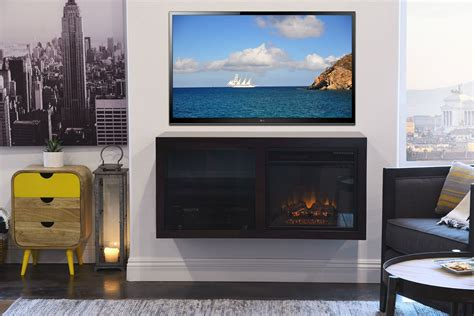 floating hanging fireplace tv stand eco geo espresso