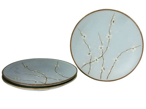 Blossom Free Plate cherry blossom on blue japanese dinner plates set for three