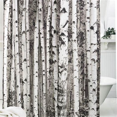 birch shower curtain birch wood tree design shower curtain hunting outdoors