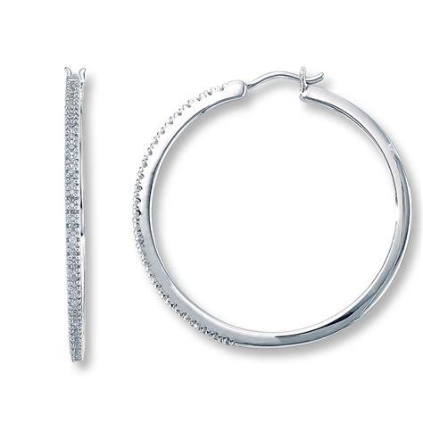 Sterling Silver Hoop Earring hoop earrings 1 4 ct tw cut sterling