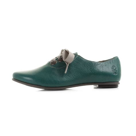womens green flat shoes womens fly fa mousse nile green leather flat lace