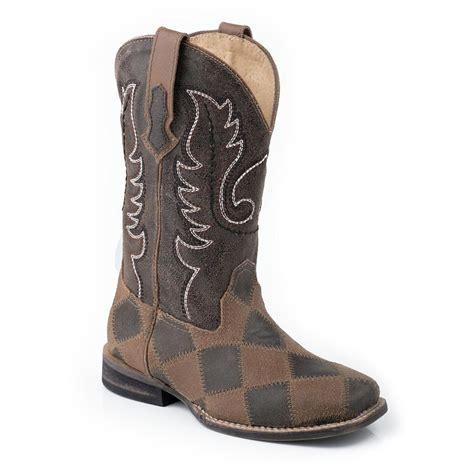 Patchwork Boots - roper 174 patchwork cowboy boot brown 580131 cowboy