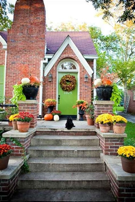 door colors for red brick houses green door with red brick fall porch love the lime
