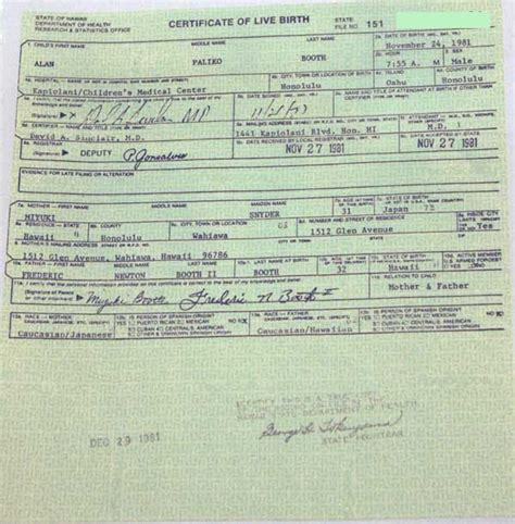 Birth Record Vs Birth Certificate Janice Okubo Resigned 1981 Hawaiian Certificate Of Live Birth Legitimate Birth