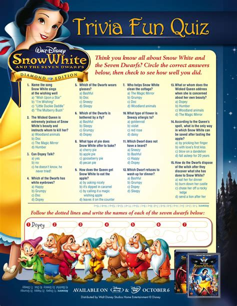disney themes quiz snow white and the seven dwarfs activity sheets