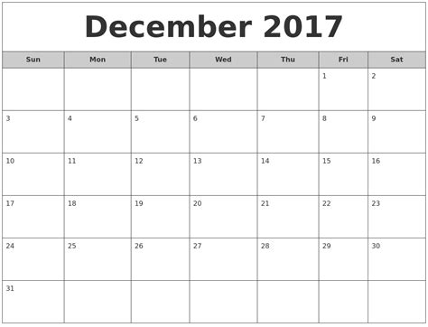 printable monthly calendar for december 2017 december 2017 free monthly calendar