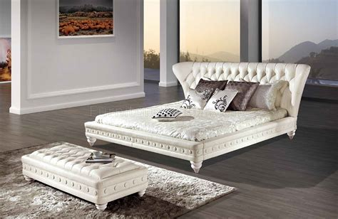 white bed bench 1191 bed in white leather match by esf w optional bench