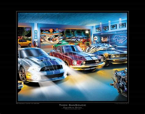 Garage Blue Prints retirement fund mustang art print mustang auto art