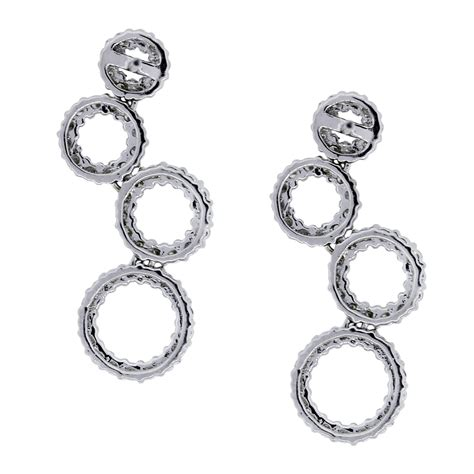 Multi Circle Earring 18k white gold multi circle drop dangle earrings