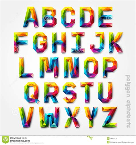 colorful fonts polygon alphabet colorful font style stock vector image