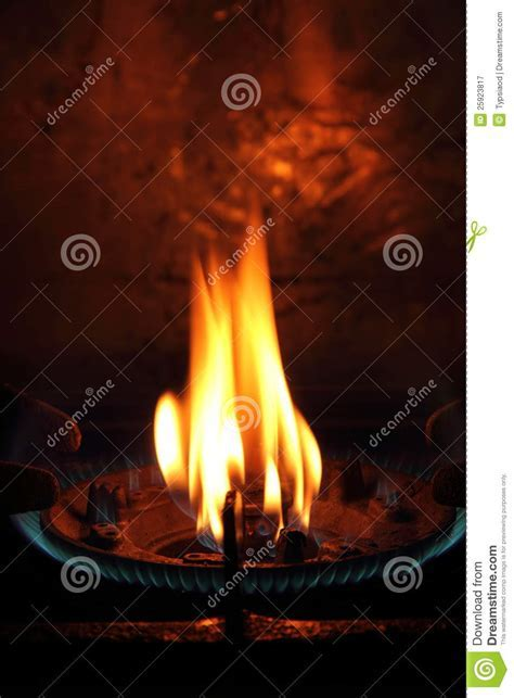 Gas fire from the furnace stock image. Image of dining