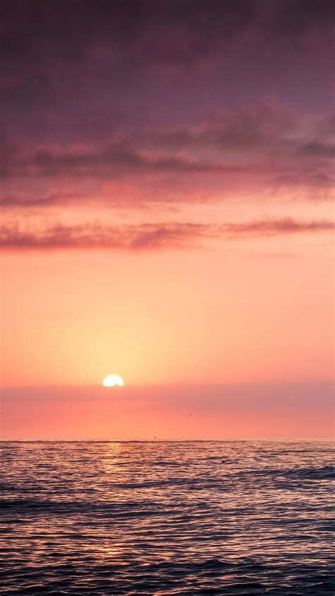 sunset sea beach sky red iphone   wallpaper