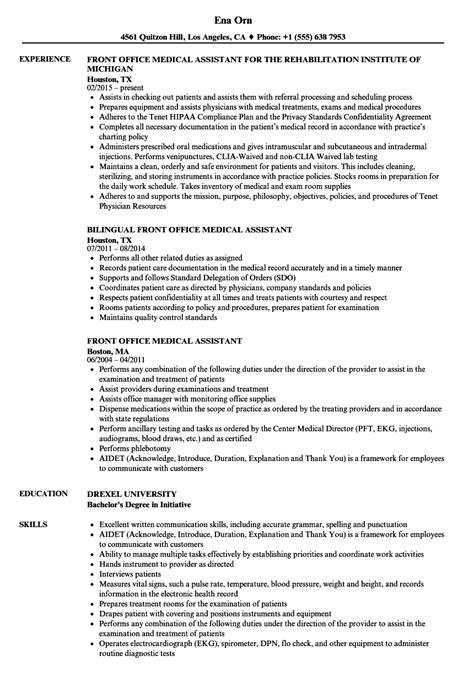front office medical assistant resume sles velvet jobs