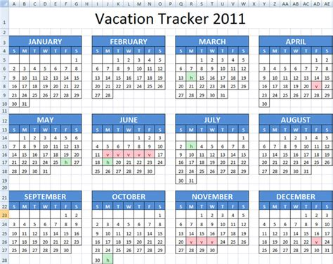 Excel Spreadsheet For Vacation Tracking Onlyagame Employee Vacation Accrual Template