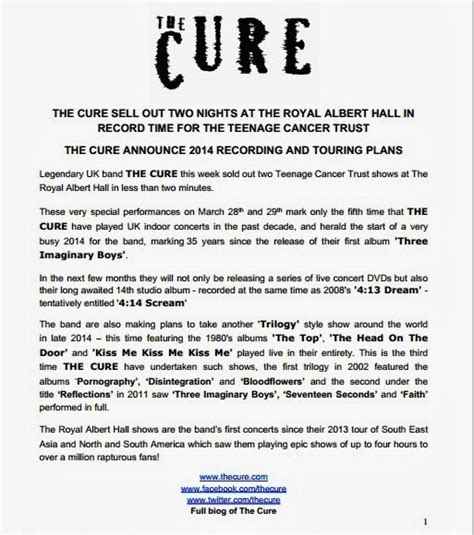 Album Press Release Template chain of flowers cure announce live dvds album trilogy 3 tour
