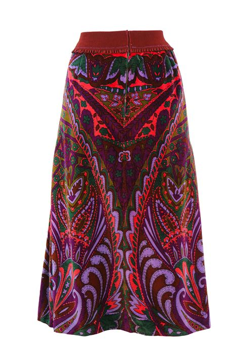 Vintage 70's Velvet Maxi Skirt with Multicoloured Abstract ... Waistcoats For Women