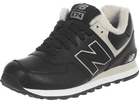 new balance ml574 leather fur shoes black