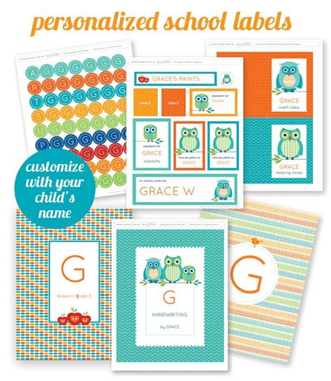 printable labels organizing free printable personalized school supply labels great